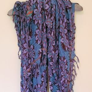 Scarf or Shawl - Purple & Blue Patterned
